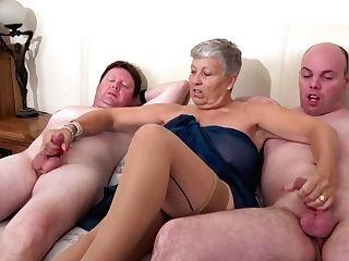 Granny Savana Strokes Two Thick Dicks Of Horny Weirdos