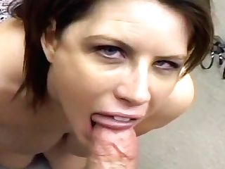 Big Titted Cougar Deep Throats Jizz Out Of Dick