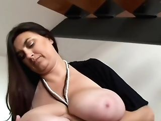Dark-haired Bbw-mummy With Hefty-knockers Taunting