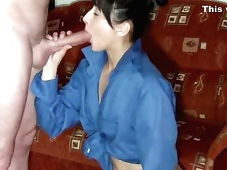Black Haired Hot Woman Works On A Man Meat